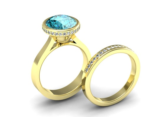 14k yellow gold simple and classic engagement ring wedding set