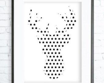 Instant Download Printable, Star Deer Print Art, deer art, Christmas deer art print, deer printable art, modern art, digital art