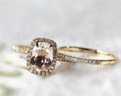 Bridal Ring Set/Engagement Ring Set/2 Ring Set Anniversary Ring Set 14k Yellow Gold 6X8mm Morganite Ring and Diamonds Matching Band