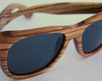 Zebrawood Grey Lens Wayfarer polarized wood sunglasses. Natural Handmade. Wedding Sunglasses.