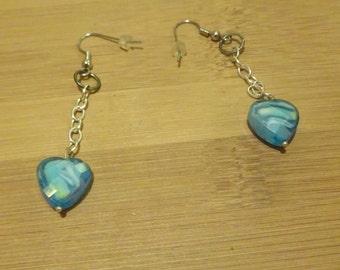 Shades of Blue Dangling Heart Earrings (E30)