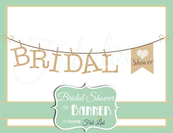 Bridal Shower Clipart Banner Digital Rustic Clothes Line Scrapbook PNG From DigitalFabLab On Etsy Studio