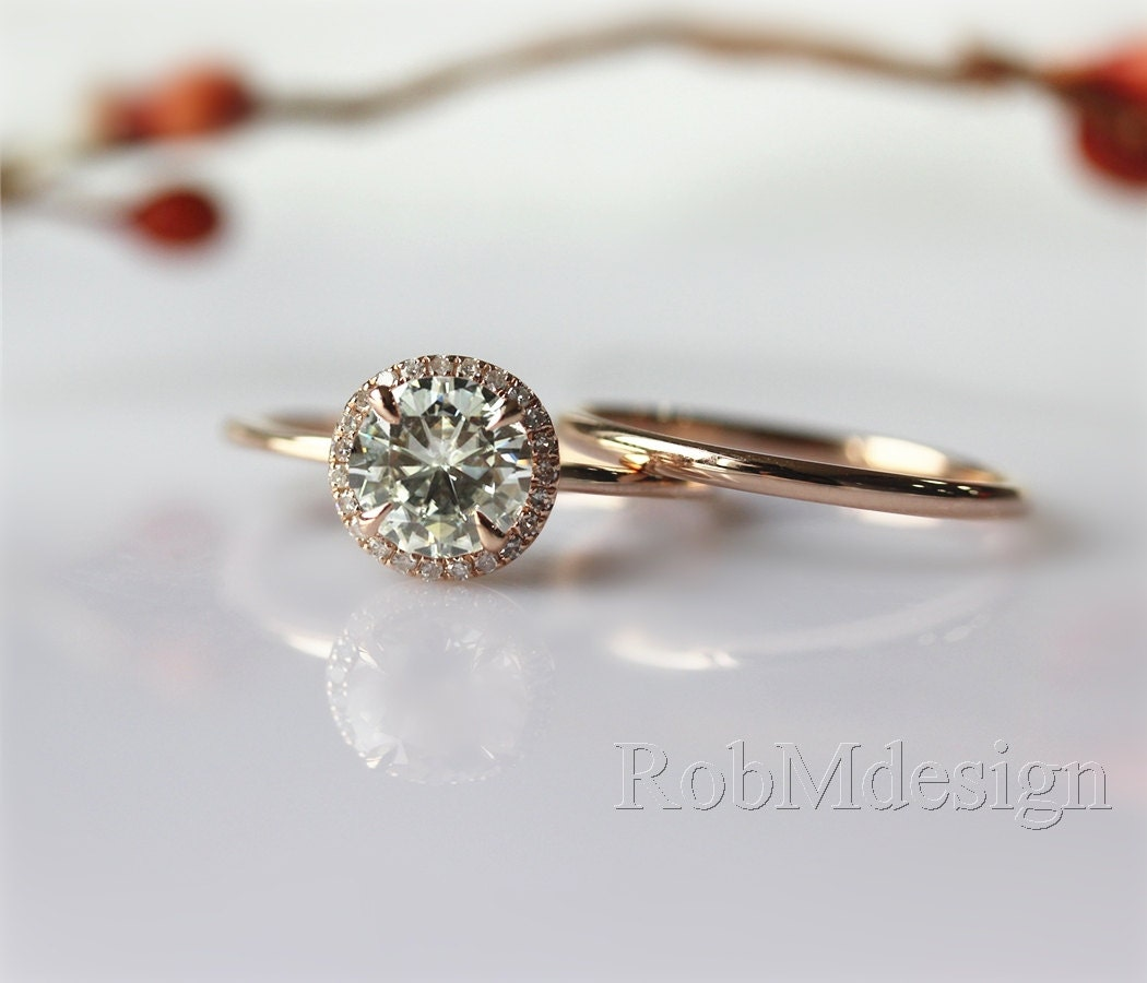 Wedding Ring Set VS 6.5mm Moissanite Halo Diamond by ...