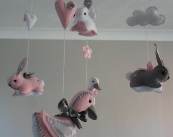 Bunny and duck nursery mobile - Pink and grey mobile - bunny, duck and cloud design - gift for new baby - custom felt mobile - nursery decor