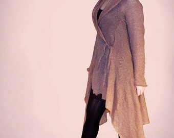 Knit wool cardigan jacket Hooded Cardigan elf Cardigan Long sleeve Asymmetric Cardigan asymmetrical coat knit cardigan hoodie
