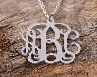 Personalized Initila Monogarm Necklace - Monogram Necklace - 3 Initials Name Necklace - Name Pendant