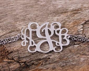 Personalized Monogram Bracelet - Initial Monogarm Bracelet - Monogram Nameplate - Monogram Jewelry