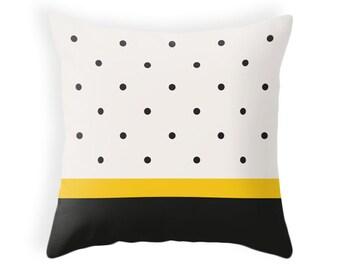Black and yellow polka dot pillow Black and cream polkadot pillow black and beige pillow black and cream pillow polka dots pillow Latte Home