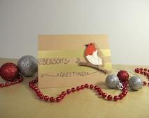 Robin Christmas Card - 'Season's Greetings' Festive Robin, A6 blank card, handmade Christmas card