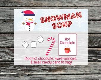 Snowman Soup Christmas Treat Bag Toppers