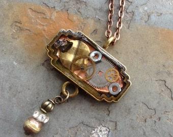 Steampunk Pendant, Resin Bezel, Resin with Gears, Pendant Bezel