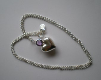 generous, Sterling silver, amethyst, cast, solid, birthday, pendant, necklace, anniversary