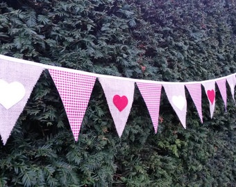 Wedding Bunting Per Metre - Gingham and Hessian - Made To Order - Several Colours