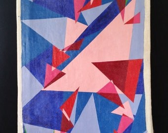 Geometric abstract of a yard flamingo 15x34