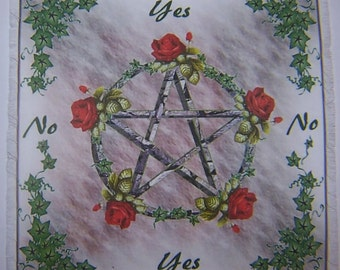 Pentacle Rose Red Scrying Mat, Dowsing wiccan Magic Divination.