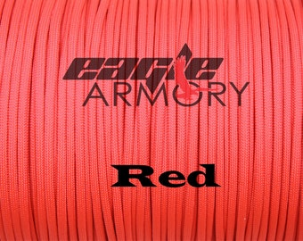 550 Paracord Commercial 7 Strand 100 foot RED 550 paracord.  Made in the USA.  Fast shipping