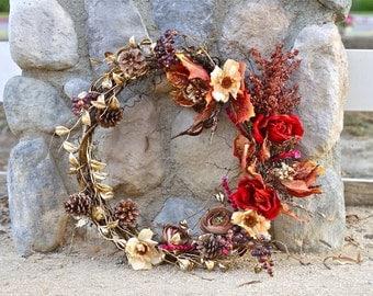 Wreath, Silk Flower Wreath, Artificial Wreath, Seasonal Wreath, Flower Wreath, Floral Wreath, Succulent Wreath, Door Wreath