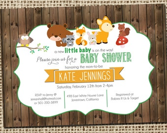 Woodland baby shower invitations with forest animals and wood planks, Printable Digital File_40
