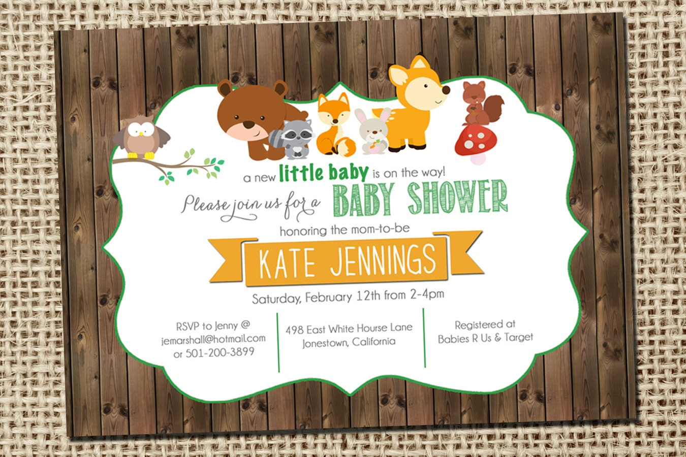 woodland baby shower invitations with forest animals and wood