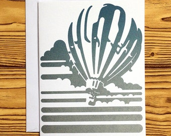 LETTERPRESS NOTECARD: Blue/Silver Balloon