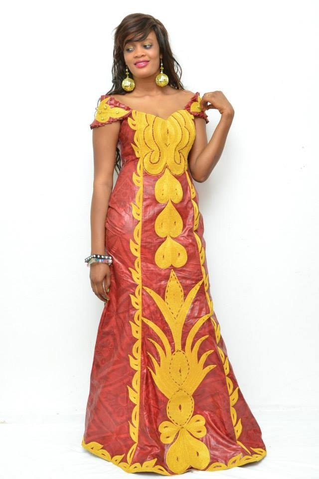 Embroidered african brocade maxi dress by newafricandesigns