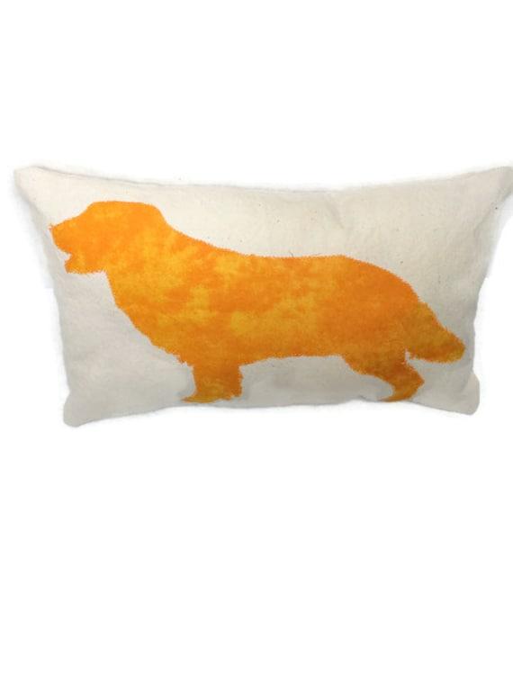 Dog applique very small decorative pillow cotton canvas for Small toss pillows