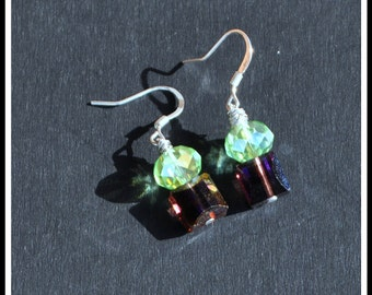 Purple and Green Wire Wrapped Bead Earrings