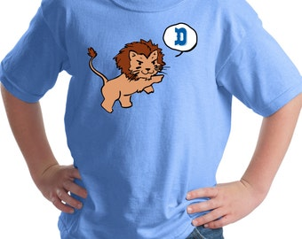 Detroit Lions My Little Lion Screen Print T-Shirt Carolina Blue Youth Shirt, Sizes S-XL Great Gift for Lions Football Fans