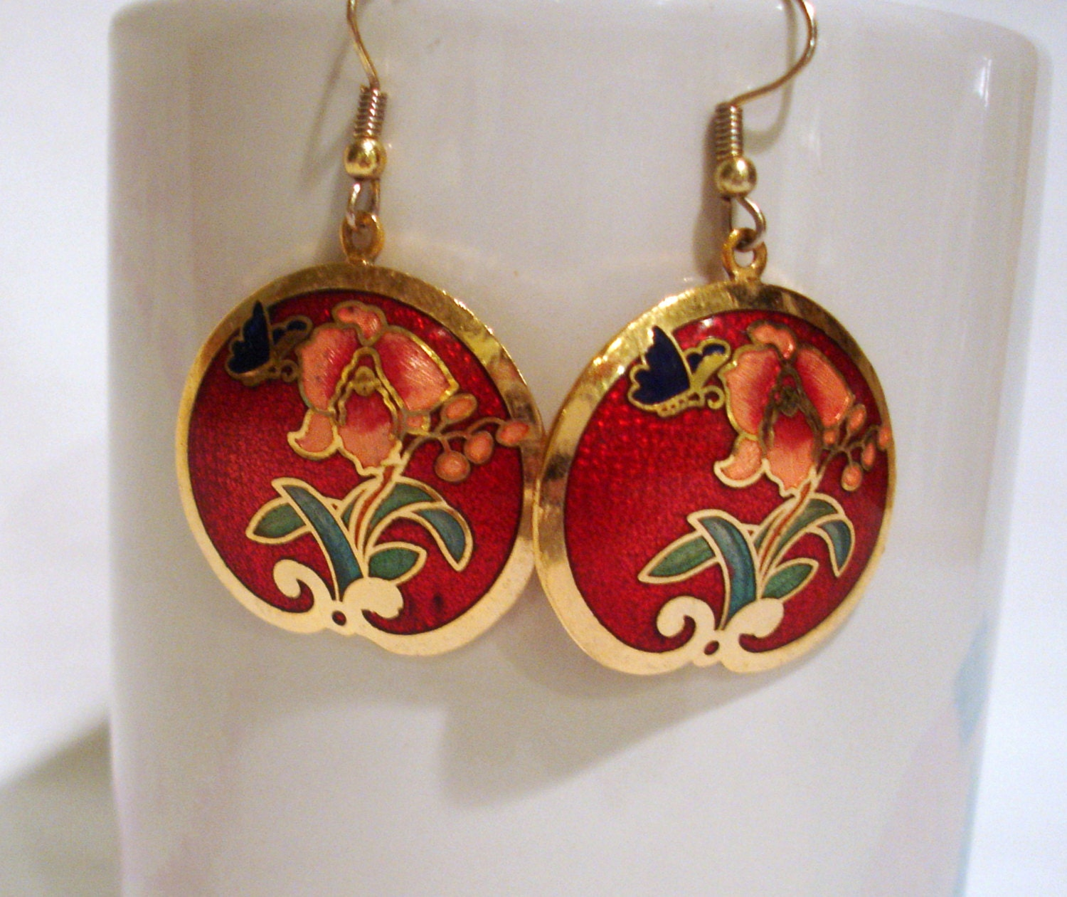vintage 1980 s cloisonne earrings