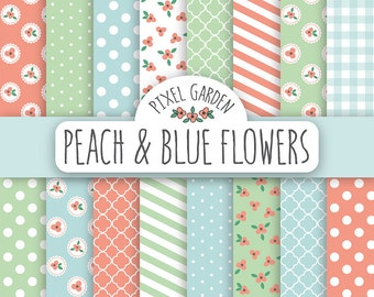 Shabby Floral Digital Paper Pack. Cottage Chic Scrapbooking Paper. Peach Flowers Printable Paper. Peach, Mint, Baby Blue.