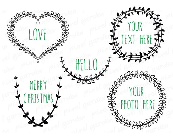 Digital Laurel Wreaths Clip Art. Black Wreaths Set. Vine ...