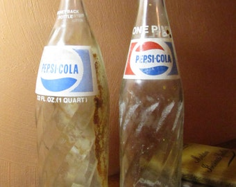 Vintage Glass Pepsi Cola Bottles (2)