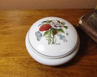 Vintage Round Porcelain Trinket Box