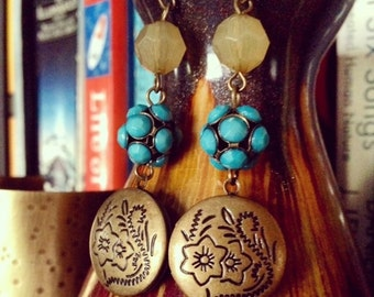 Romantic vintage inspired locket earrings.