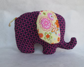 Handmade stuffed elephant - pink/purple and yellow