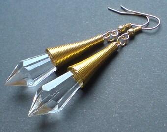 Art Deco Gold Wrapped Clear Teardrop Earrings , Teardrop Earrings , Clear Faceted Earrings , Gold Earrings , Handmade Jewelry , Boho Gift