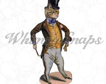 Victorian Gentleman Cat in Top Hat Illustration DIGITAL IMAGE Download,  .png and .jpeg, transfer to burlap, totes, designs