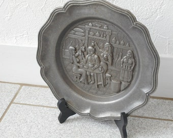 vintage Spanish collectible decorative pewter plate with bar scene