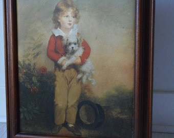 vintage French wooden framed decorative silk wall picture