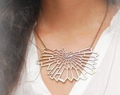 Bronze Geometric Necklace, Butterfly Bib Necklace, Women's Statement Necklace
