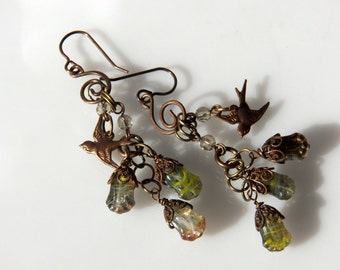 Vintage Glass Flower Beads and Brass Dangle Hook Earrings