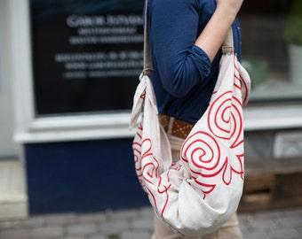 Hemp Furoshiki With Red Screenprinted Design, Furoshiki Wrap, Hemp Furoshiki Bag