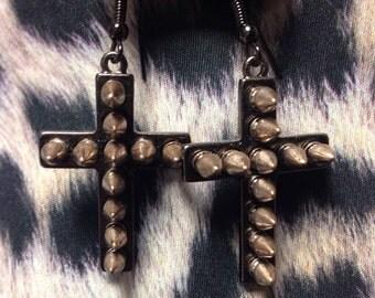 Bronze spike cross earrings