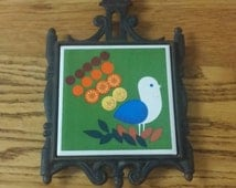 1960s Peacock Trivet, made in Japan, bright, bold colors