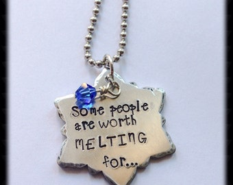 Handstamped snowflake necklace
