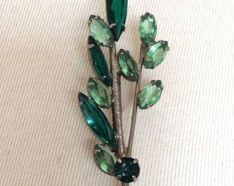 Green Glass Leaf Mid-Century Modern Brooch