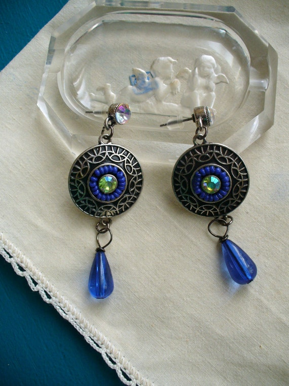 Silver Filigree Dangling Earrings with Iridescent Crystal Posts Green and Blue Accents and Tear Drop Blue Glass Bead