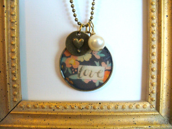 Love Pendant Necklace, Re-purposed Pearl Necklace, Pendant Necklace, Heart Charm Necklace, Love Necklace, Affordable Necklace, Bead Chain