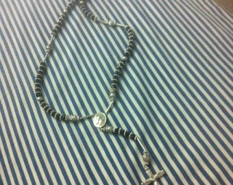 Black and Silver Vintage Rosary Gorgeous Crucifix 534