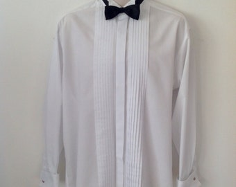 Vintage 90s White Scott & Taylor Dress Shirt, Size 16 Collar, Special Occasion, Evening Shirt, Mens Clothing